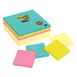 """Post-it® Super Sticky Notes, 3"""" x 3"""", Miami Collection, Pack Of 24 Pads"""