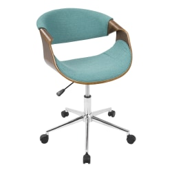 LumiSource Curvo Mid-Century Modern Mid-Back Chair, Teal/Walnut/Silver