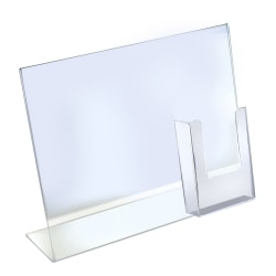 "Azar Displays Acrylic Horizontal/Vertical L-Shaped Sign Holders With Brochure Pocket, 11""H x 14""W x 3""D, Clear, Pack Of 2 Holders"