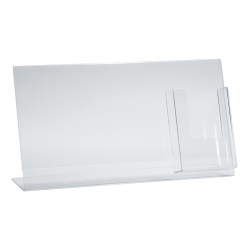 """Azar Displays Acrylic Horizontal/Vertical L-Shaped Sign Holders With Brochure Pocket, 8-1/2""""H x 16""""W x 3""""D, Clear, Pack Of 2 Holders"""