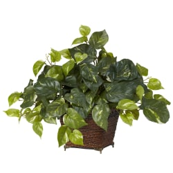 """Nearly Natural 17""""H Silk Pathos With Coiled Rope Planter"""