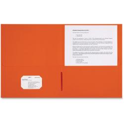 "Sparco 2-pocket Leatherette Portfolio - Letter - 8 1/2"" x 11"" Sheet Size - 2 Internal Pocket(s) - Leatherette Paper - Orange - 25 / Box"