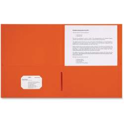 "Sparco Leatherette Portfolio, 8-1/2"" x 11"", 2 Pocket, Orange, Box of 25"