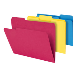 """Office Depot® Heavy-Duty Top-Tab File Folders, 3/4"""" Expansion, 8-1/2"""" x 11"""", Letter Size, Assorted, Pack Of 18 Folders"""