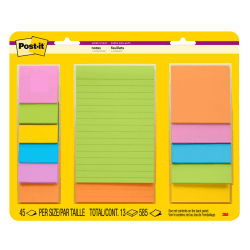 Post-it® Super Sticky Notes, Assorted Sizes, Rio de Janeiro Collection, Lined and unlined, 13 Pads/Pack, 45 Sheets/Pad