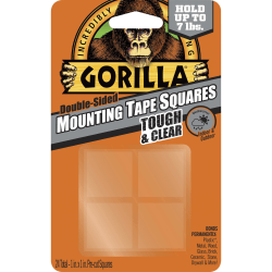 "Gorilla Tough & Clear Mounting Squares - 1"" Length x 1"" Width - 1 / Pack - Clear"