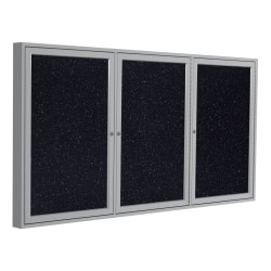 "Ghent 3-Door Enclosed Recycled Rubber Bulletin Board, 48"" x 96"", Confetti Satin Aluminum Frame"