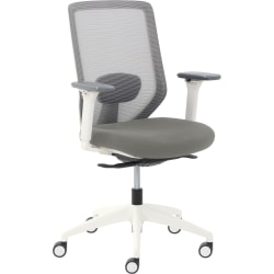 True Commercial Phoenix Mesh/Fabric Mid-Back Task Chair, Light Gray/Off-White