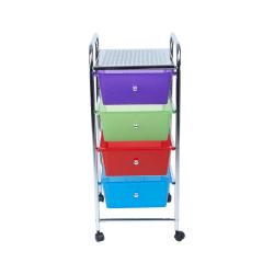 "Mind Reader Plastic 4-Drawer Storage Trolley Utility Cart, 30 1/4""H x 12 1/2""W x 14 1/4""D, Multicolor"