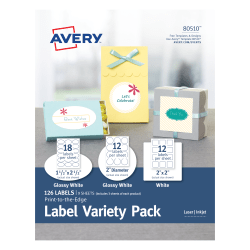 Avery® Print-To-The-Edge Variety Pack, AVE80510, White, Pack Of 126