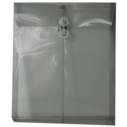 "JAM Paper® Open-End Plastic Envelopes, Letter-Size, 9 3/4"" x 11 3/4"", Smoke Gray, Pack Of 12"