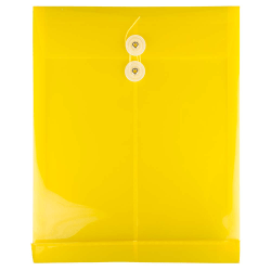 "JAM Paper® Open-End Plastic Envelopes, Letter-Size, 9 3/4"" x 11 3/4"", Yellow, Pack Of 12"