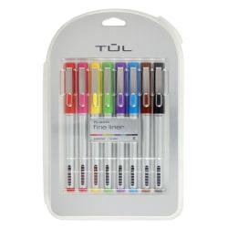 TUL® Fine Liner Felt-Tip Pens, Fine Point, 1.0 mm, Silver Barrels, Assorted Inks, Pack Of 8 Pens