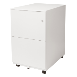 "Aurora SOHO 25""D Vertical 2-Drawer Mobile File Cabinet, Metal, White"