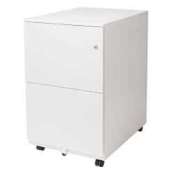 "Aurora SOHO 25""D Vertical 2-Drawer Mobile File Cabinet, Metal, White"