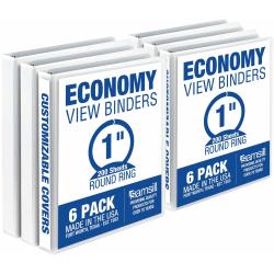 "Samsill Value 1"" Round Ring View Binder - 1"" Binder Capacity - 200 Sheet Capacity - Round Ring Fastener(s) - White - 4.02 lb - Recycled - 6 / Carton"