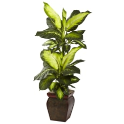 "Nearly Natural 45""H Plastic Golden Dieffenbachia With Planter"