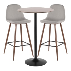 LumiSource Pebble Mid-Century Modern Table With 2 Chairs, Black/Walnut/Light Gray