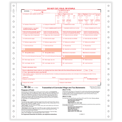 """ComplyRight W-3C Tax Forms, Continuous, 2-Part, 9"""" x 11"""", Pack Of 100 Forms"""