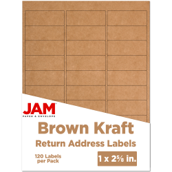"JAM Paper® Mailing Address Labels, 4513701, 2 5/8"" x 1"", Brown Kraft, Pack Of 120"