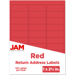 """JAM Paper® Mailing Address Labels, 4514939, 2 5/8"""" x 1"""", Red, Pack Of 120"""