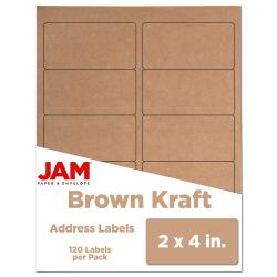 "JAM Paper® Rectangular Mailing Address Labels, 4513703, 2"" x 4"", Brown Kraft, Pack Of 120"