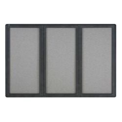 "Quartet® Fully Enclosed 3-Door Bulletin Board, 72"" x 48"", Aluminum Frame With Graphite Finish"