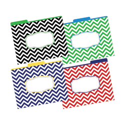 "Barker Creek Tab File Folders, 8 1/2"" x 11"", Letter Size, Chevron Nautical, Pack Of 12"