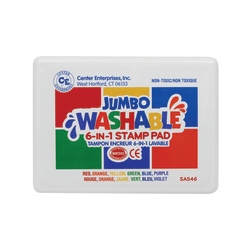 Center Enterprise Washable 6-In-1 Stamp Pads, 2'' x 2'', Assorted Colors, Pack Of 2