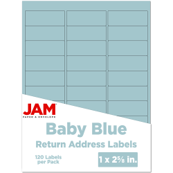 """JAM Paper® Mailing Address Labels, 4052894, 2 5/8"""" x 1"""", Baby Blue, Pack Of 120"""
