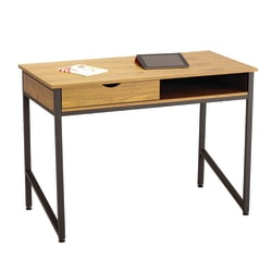 Safco® Single Drawer Writing Desk, Wood Veneer, Natural/Black