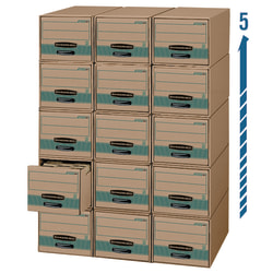 """Bankers Box® Stor/Drawer® Steel Plus™ Drawer Files, Letter Size, 23 1/4"""" x 12 1/2"""" x 10 3/8"""", 100% Recycled, Kraft/Green, Pack Of 6"""