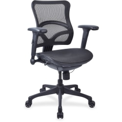 Lorell® Mesh Mid-Back Chair, Black