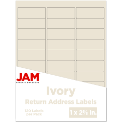 "JAM Paper® Mailing Address Labels, 17966071, 2 5/8"" x 1"", Ivory, Pack Of 120"