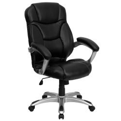 Flash Furniture Bonded LeatherSoft™ High-Back Chair, Black/Silver