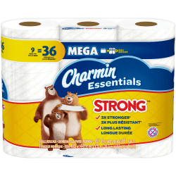 Charmin® Essentials® Strong 1-Ply Mega Roll Toilet Paper, 451 Sheets Per Roll, Pack Of 9 Rolls