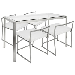 Lumisource Fuji Contemporary White/Stainless Steel Dining Table With 4 White/Stainless Steel Chairs
