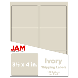 """JAM Paper® Mailing Address Labels, 3 1/3"""" x 4"""", Ivory, Pack Of 120"""