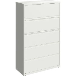 """Lorell® 42""""W Lateral 5-Drawer File Cabinet, White"""