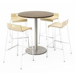 KFI Studios Round Bistro Pedestal Table With 4 Stacking Bar Stools, Studio Teak/White