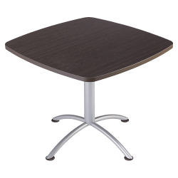 "Iceberg iLand Square Hospitality Table, 36""W x 36""D, Brown Wood/Silver Chrome"