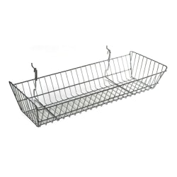 Azar Displays Wide Slanted Chrome Wire Baskets, Medium Size, Silver, Pack Of 2