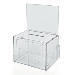 "Azar Displays Plastic Suggestion Box, With Lock, Extra-Large, 8 1/4""H x 11""W x 8 1/4""D, Clear"