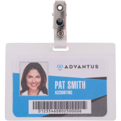 "Advantus Strap Clip Self-laminating Badge Holders - Support 3.50"" x 2.25"" Media - Horizontal - 4"" x 2.9"" x - 25 / Pack - Clear"