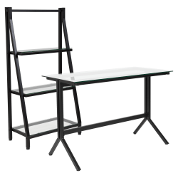 "Flash Furniture 43-1/4"" Glass Computer Desk With Bookshelf, Clear/Black"