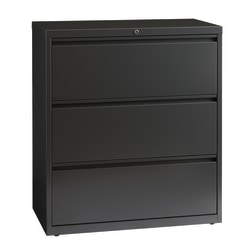 "WorkPro® 36""W Lateral 3-Drawer File Cabinet, Metal, Charcoal"