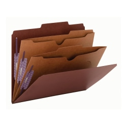 """Smead® Classification Folders, 2 Dividers, 2"""" Expansion, Letter Size, 60% Recycled, Red, Box Of 10"""