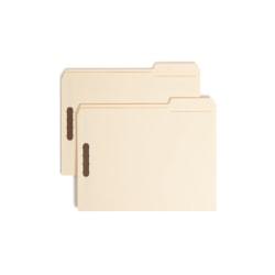 Smead® Top-Tab Fastener Folders With Tab, Letter Size, 2/5 Cut, Manila, Box Of 50