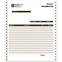 "Custom Continuous Invoice Form For QuickBooks®, 9 1/2"" x 11"", 3-Part, Box Of 250"