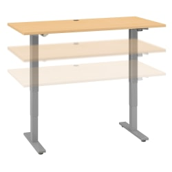 """Move 40 Series by Bush Business Furniture Height-Adjustable Standing Desk, 60"""" x 30"""", Natural Maple/Cool Gray Metallic, Standard Delivery"""